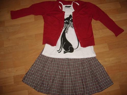 Rojo granada, falda de cuadros y gato.