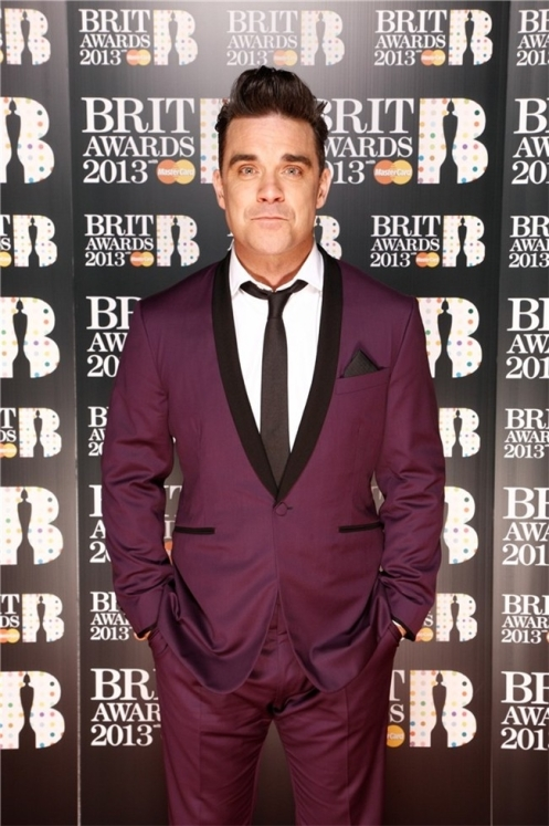 Robbie Williams en los Brit-Awards 2013.