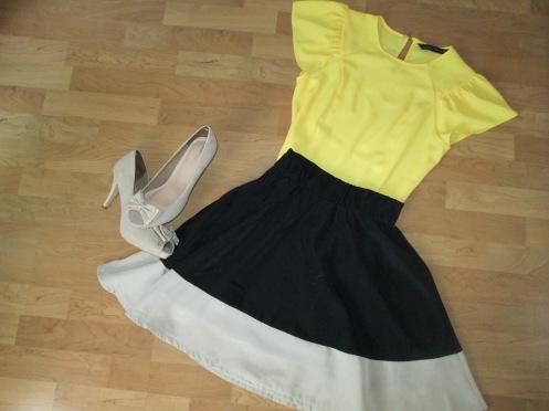 Combinación de amarillo, negro y beige