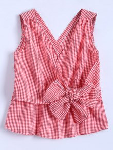 Women TopSleeveless Plaid Wrap Bowknot Blouse
